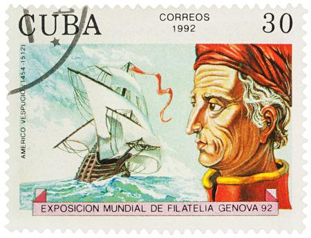 discoverer: MOSCOW, RUSSIA - NOVEMBER 16, 2016: A stamp printed in Cuba shows Amerigo Vespucci (1454-1512), an Italian explorer, financier, navigator and cartographer, series Explorers and their Ships, circa 1992