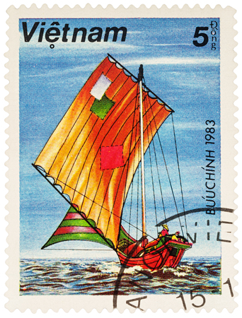 MOSCOW, RUSSIA - NOVEMBER 14, 2016: A stamp printed in Vietnam shows Asian sailing boat, series Boats, circa 1983 Editorial