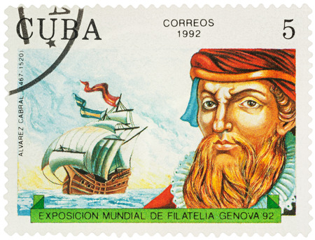 MOSCOW, RUSSIA - NOVEMBER 16, 2016: A stamp printed in Cuba shows Alvarez Cabral (1467-1520), Portuguese navigator, discoverer of Brazil, series Explorers and their Ships, circa 1992