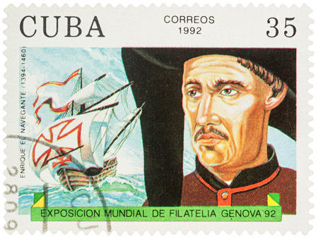 MOSCOW, RUSSIA - NOVEMBER 16, 2016: A stamp printed in Cuba shows Duke of Viseu (Henry the Navigator, 1394-1460) - a Portugal navigator, series Explorers and  their Ships, circa 1992