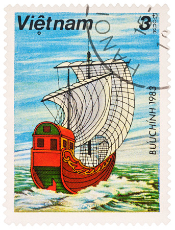 MOSCOW, RUSSIA - NOVEMBER 14, 2016: A stamp printed in Vietnam shows ancient Asian sailing ship, series Boats, circa 1983 Editorial