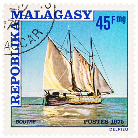 MOSCOW, RUSSIA - NOVEMBER 12, 2016: A stamp printed in Malagasy shows Arabic sailing ship, circa 1975 Editorial