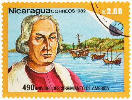 MOSCOW, RUSSIA - NOVEMBER 15, 2016: A stamp printed in Nicaragua shows portrait of Christopher Columbus, series The 490th Anniversary of Discovery of America, circa 1982
