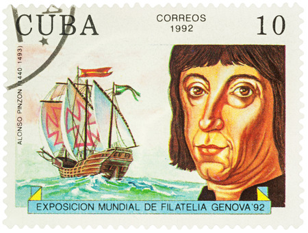 MOSCOW, RUSSIA - NOVEMBER 16, 2016: A stamp printed in Cuba shows Alonso Pinzon (1441-1493), a Spanish mariner, shipbuilder, navigator and explorer, series  Explorers and their Ships, circa 1992 Editorial