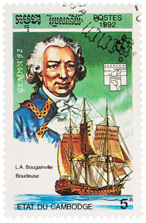 MOSCOW, RUSSIA - NOVEMBER 12, 2016: A stamp printed in Cambodia shows Louis de Bougainville (1729-1811) and ship La Boudeuse, series Exhibition Genova 92 - Navigators and their Ships, circa 1992