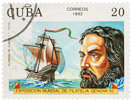 MOSCOW, RUSSIA - NOVEMBER 16, 2016: A stamp printed in Cuba shows Alonso de Ojeda (1468-1515), a Spanish navigator, governor and conquistador, series Explorers and their Ships, circa 1992