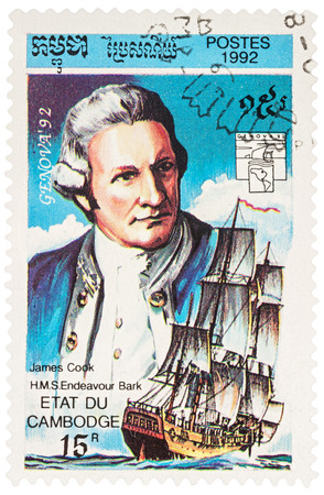 MOSCOW, RUSSIA - NOVEMBER 12, 2016: A stamp printed in Cambodia shows Captain James Cook and H.M.S. Endeavour, series Exhibition Genova 92 - Navigators and their Ships, circa 1992
