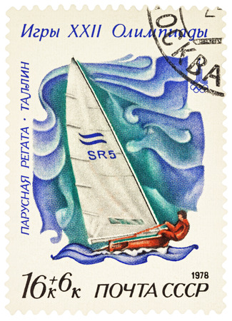 olympic games: MOSCOW, RUSSIA - NOVEMBER 22, 2016: A stamp printed in USSR (Russia) shows racing yacht in Finn class in Tallinn, series Olympic Games - Moscow, USSR - Sailing Regatta, circa 1978 Editorial