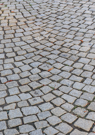 cobblestone road: Fragment of old gray cobblestone road with dry leaves