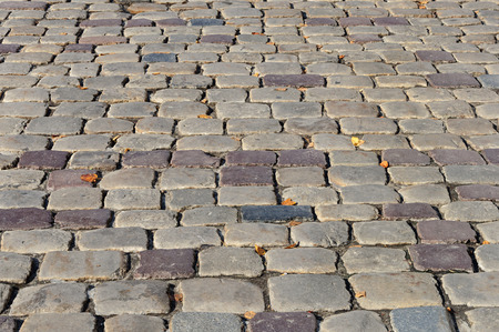cobblestone road: Fragment of old grey cobblestone road with yellow leaves Stock Photo