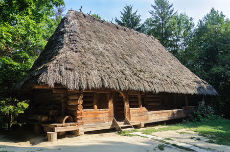 Lviv, Ukraine - September 09, 2016: Ancient Ukrainian authentic wooden house with thatched roof from Boykos region, Ukraine. Now in Museum of Folk Architecture in Lviv