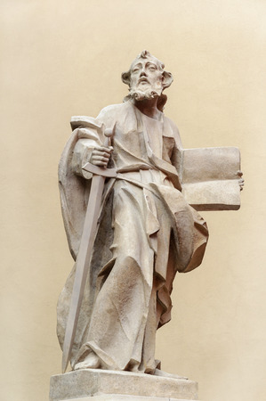 lvov: Sculpture of Holy man with a book near the Dominican Cathedral in Lviv (Lvov), Ukraine