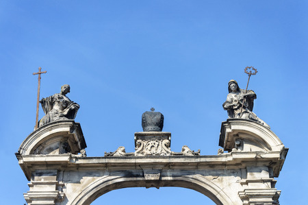 Upper part of gate with sculptures of St. George Cathedral in Lviv, Ukraine. Built in 1770