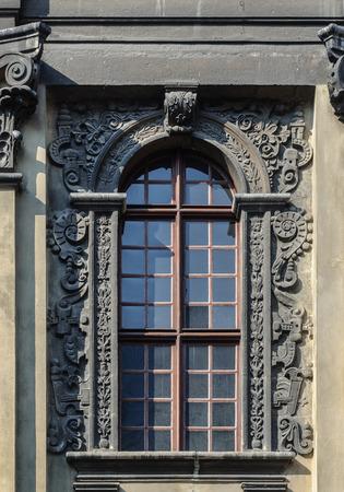 lvov: Decorated window with lattice, old building in Lviv (Lvov), Ukraine