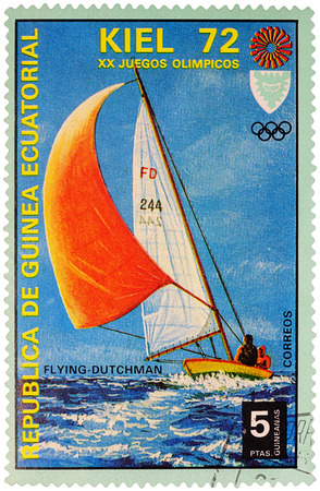 bateau de course: MOSCOW, RUSSIA - January 09, 2017: A stamp printed in Equatorial Guinea shows yachting, the race in Flying Dutchman class, series Olympic Games - Munich, Germany, circa 1972