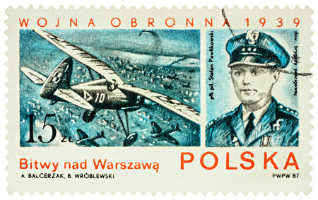 MOSCOW, RUSSIA - January 23, 2017: A stamp printed in Poland shows Polish pilot Stefan Pawlikowski, air battles over Warsaw, series The 48th Anniversary of the Outbreak of World War II, circa 1987 Editorial