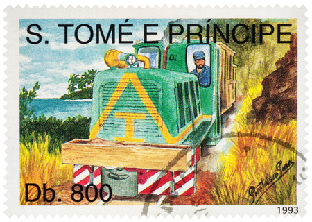 MOSCOW, RUSSIA - February 08, 2017: A stamp printed in Sao Tome and Principe, shows picture of small diesel locomotive with motorman, series Railways, circa 1993 Editorial