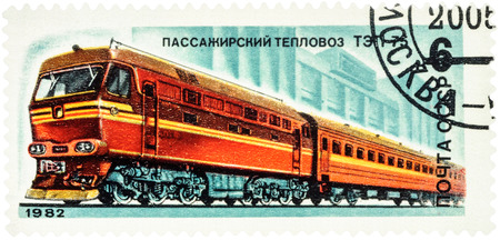 MOSCOW, RUSSIA - February 12, 2017: A stamp printed in USSR (Russia), shows Soviet passenger locomotive TEP 7, series Locomotives, circa 1982