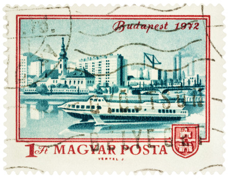 obuda: MOSCOW, RUSSIA - February 12, 2017: A stamp printed in Hungary shows Budapest and Danube river, series The 100th Anniversary of the Unification of Obuda, Buda and Pest, circa 1972 Editorial