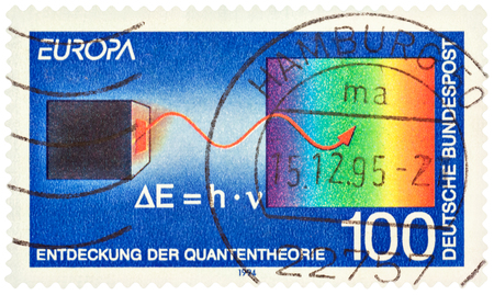 planck: MOSCOW, RUSSIA - February 20, 2017: A stamp printed in Germany shows the Discovery of Quantum theory by Max Planck, circa 1994 Editorial