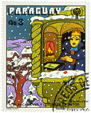 seven dwarfs: MOSCOW, RUSSIA - February 28, 2017: A stamp printed in Paraguay shows Queen in winter time, series International Year of the Child - Grimms Fairy Tale Snow White  and the Seven Dwarfs, circa 1978