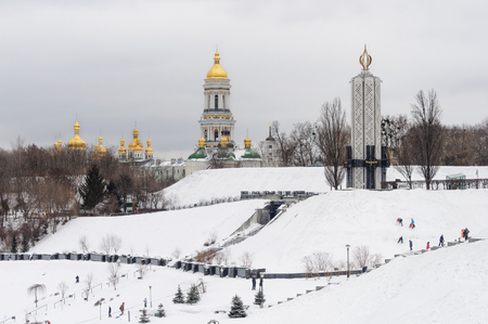 Winter view of Kiev-Pechersk Lavra and National Museum Memorial to Holodomor victims in Kiev, Ukraine Editorial