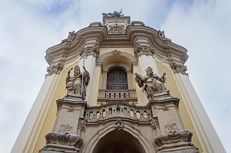 Sculptures on the facade of the St. George's Cathedral in Lviv (Lvov), Ukraine. Built in 1744-1762