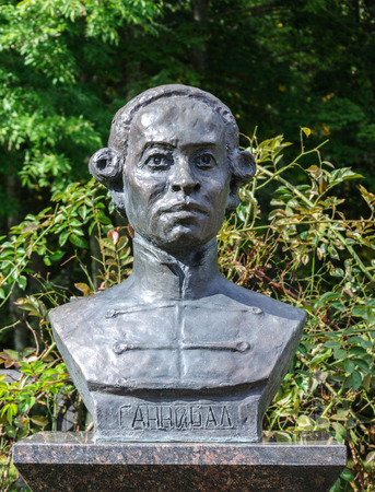 petrovich: Petrovskoe, Pushkinskiye Gory, Russia - September 10, 2015: Monument to Abram Petrovich Hannibal, great-grandfather of the famous Russian poet Alexander Pushkin