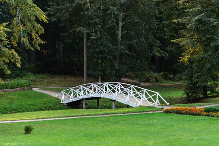 White wooden bridge in the old park in the village of Mikhailovskoye, Pushkinsky Reserve, Pskov region, Russia