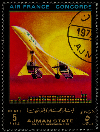 Moscow, Russia - July 03, 2017: A stamp printed in Ajman shows supersonic passenger airliner Concorde, Air France, series Modern Passenger Airplanes, circa 1972