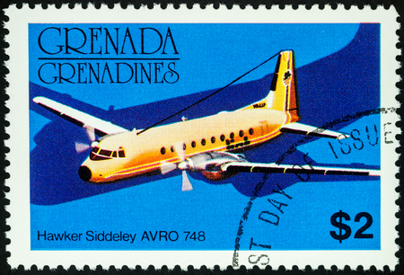 grenada: Moscow, Russia - July 04, 2017: A stamp printed in Grenada shows old small passenger aircraft Hawker Siddeley AVRO 748, series, circa 1976 Editorial