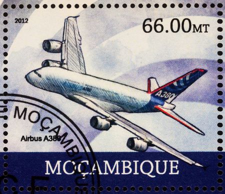 Moscow, Russia - July 08, 2017: A stamp printed in Mozambique shows passenger airliner Airbus A380, series Transport - Worlds Biggest Plane - Airbus A380, circa 2012