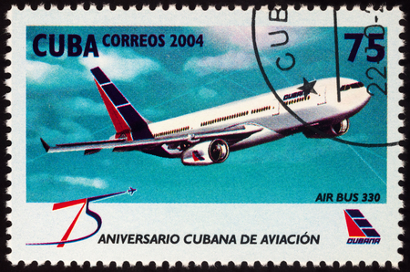 Moscow, Russia - July 10, 2017: A stamp printed in Cuba shows passenger aircraft Airbus A330, series The 75th Anniversary of Cubana Airline, circa 2004