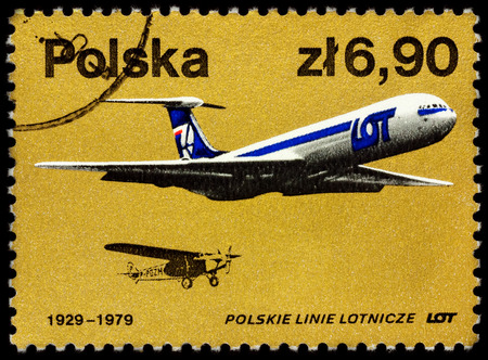 Moscow, Russia - July 07, 2017: A stamp printed in Poland shows old and modern passenger aircrafts, series The 50th Anniversary of the Polish Airlines (LOT), circa 1979 Editorial