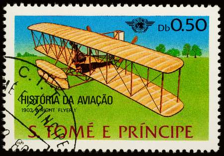 Moscow, Russia - July 10, 2017: A stamp printed in Sao Tome and Principe shows airplane brothers Wright (1903), series Aircrafts - History of Aviation and the 35th Anniversary of ICAO, circa 1979