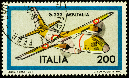 Moscow, Russia - July 12, 2017: A stamp printed in Italy shows Italian military transport aircraft Aeritalia G.222, series Aeroplanes, circa 1981 Editorial
