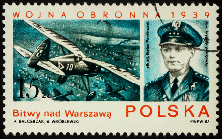 Moscow, Russia - July 17, 2017: A stamp printed in Poland shows Polish pilot Stefan Pawlikowski, air battles over Warsaw, series The 48th Anniversary of the Outbreak of World War II, circa 1987