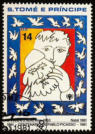 Moscow, Russia - July 27, 2017: A stamp printed in Sao Tome and Principe, shows painting The old and the new year by Pablo Picasso, series Year of the Child - Picasso paintings, circa 1981 Editorial