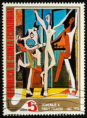 Moscow, Russia - July 27, 2017: A stamp printed in Equatorial Guinea, shows painting Dancer by Pablo Picasso, series Picasso: Abstract paintings, circa 1975 Редакционное