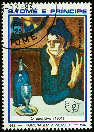 Moscow, Russia - July 27, 2017: A stamp printed in Sao Tome and Principe, shows painting The Absinthe Drinker (1901) by Pablo Picasso, series Pablo Picasso, circa 1982 Editorial
