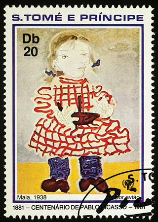 Moscow, Russia - July 27, 2017: A stamp printed in Sao Tome and Principe, shows painting Girl (Maia) by Pablo Picasso, series Year of the Child - Picasso paintings, circa 1981