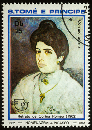 Moscow, Russia - July 27, 2017: A stamp printed in Sao Tome and Principe, shows portrait of Corina Romeu (1902) by Pablo Picasso, series Pablo Picasso, circa 1982 Editorial