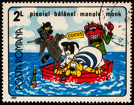 Moscow, Russia - July 31, 2017: A stamp printed in Romania, shows frame from Cartoon film Who laughs last, series Romanian Cartoons, circa 1989 Editorial