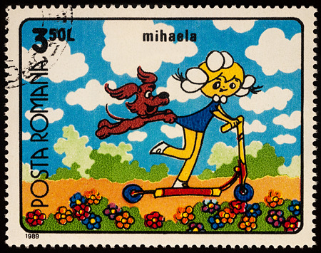 Moscow, Russia - July 31, 2017: A stamp printed in Romania, shows frame from Cartoon film