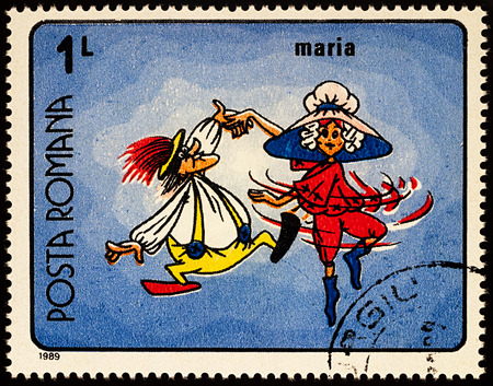 Moscow, Russia - July 31, 2017: A stamp printed in Romania, shows frame from Cartoon film Marias Adventure, series Romanian Cartoons, circa 1989