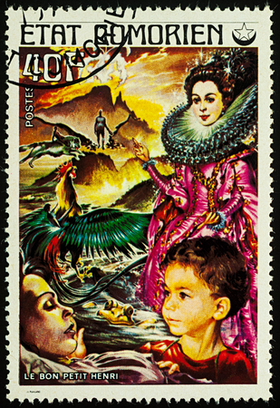 Moscow, Russia - August 02, 2017: A stamp printed in Comoros shows scene from a fairy tale Good little Henry, series Childrens Book, circa 1976
