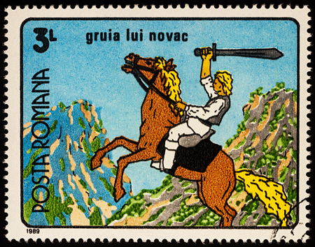 Moscow, Russia - July 31, 2017: A stamp printed in Romania, shows Gruia Lui Novac, a frame from Cartoon film, series Romanian Cartoons, circa 1989
