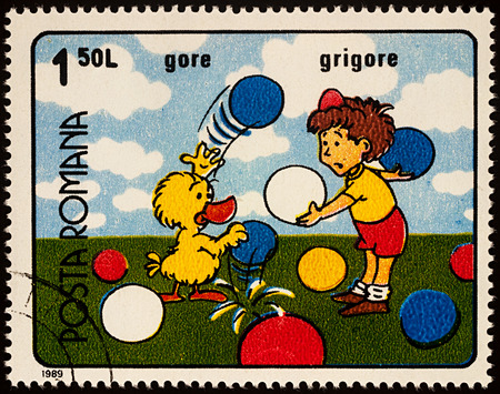 Moscow, Russia - July 31, 2017: A stamp printed in Romania, shows frame from Cartoon film Gore and Grigore, series Romanian Cartoons, circa 1989