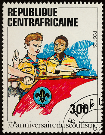 Moscow, Russia - August 04, 2017: A stamp printed in Central African Republic shows Boy Scouts, series The 75th Anniversary of Boy Scout Movement, circa 1982