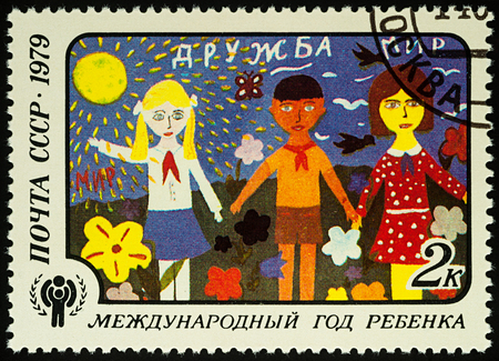 Moscow, Russia - August 04, 2017: A stamp printed in USSR (Russia) shows childrens drawing of Friendship, series International year of the child, circa 1979